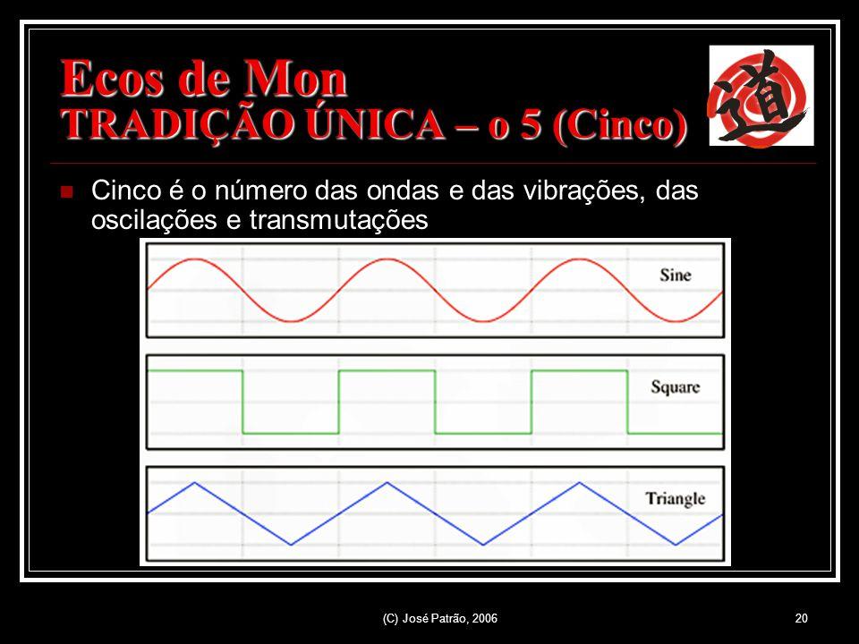(C) José Patrão, 200620 Ecos de Mon TRADIÇÃO ÚNICA – o 5 (Cinco) Cinco é o número das ondas e das vibrações, das oscilações e transmutações