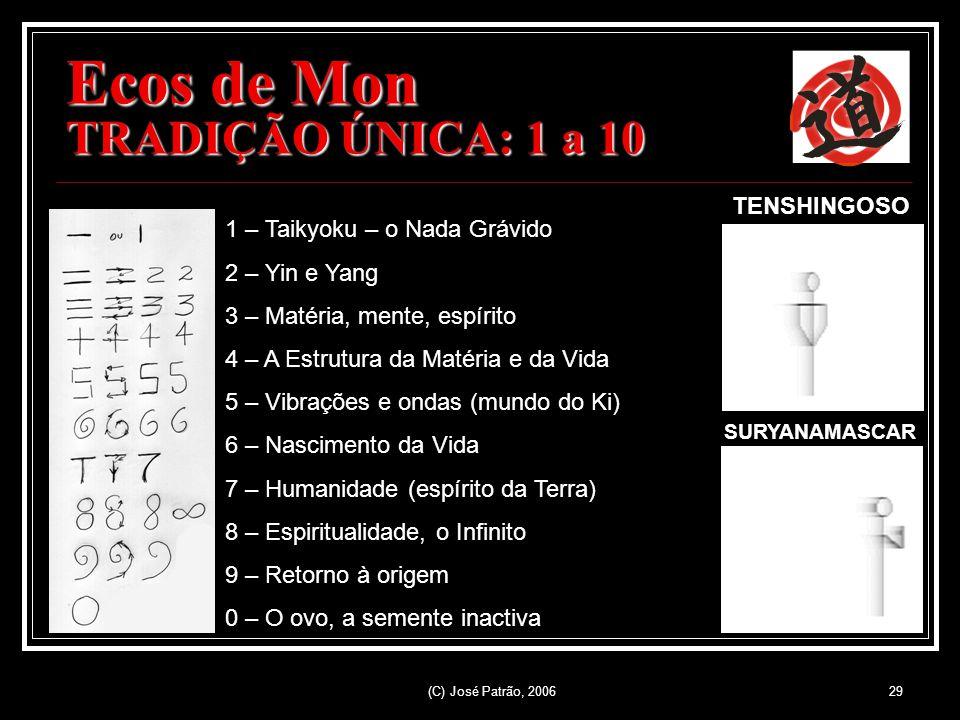 (C) José Patrão, 200629 Ecos de Mon TRADIÇÃO ÚNICA: 1 a 10 1 – Taikyoku – o Nada Grávido 2 – Yin e Yang 3 – Matéria, mente, espírito 4 – A Estrutura da Matéria e da Vida 5 – Vibrações e ondas (mundo do Ki) 6 – Nascimento da Vida 7 – Humanidade (espírito da Terra) 8 – Espiritualidade, o Infinito 9 – Retorno à origem 0 – O ovo, a semente inactiva TENSHINGOSO SURYANAMASCAR