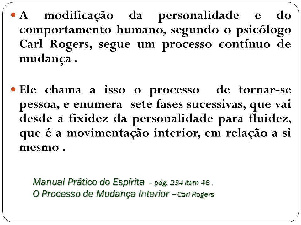 Manual Prático do Espírita – pág. 234 Item 46. O Processo de Mudança Interior – Carl Rogers A modificação da personalidade e do comportamento humano,