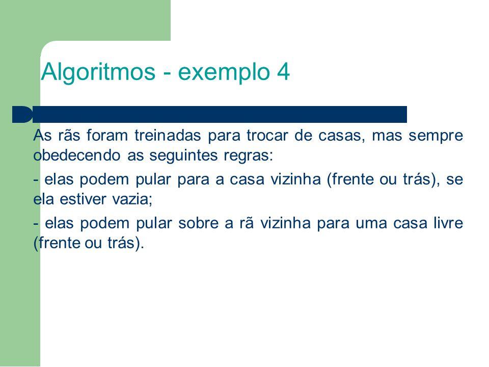 Algoritmos - exemplo 4 As rãs foram treinadas para trocar de casas, mas sempre obedecendo as seguintes regras: - elas podem pular para a casa vizinha (frente ou trás), se ela estiver vazia; - elas podem pular sobre a rã vizinha para uma casa livre (frente ou trás).