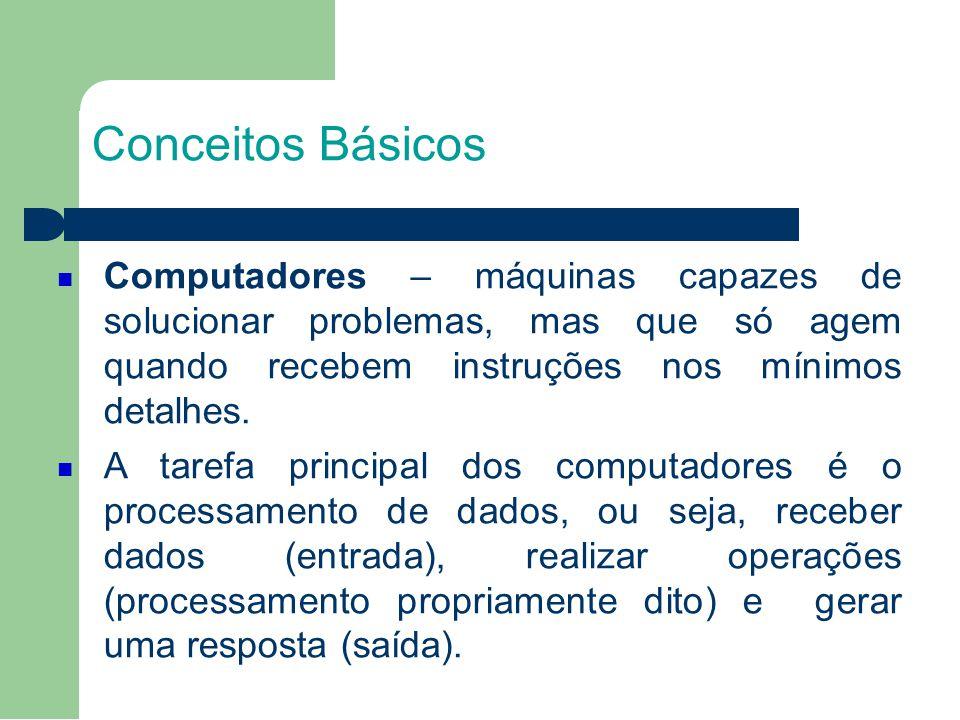 Conceitos Básicos Computadores – máquinas capazes de solucionar problemas, mas que só agem quando recebem instruções nos mínimos detalhes.