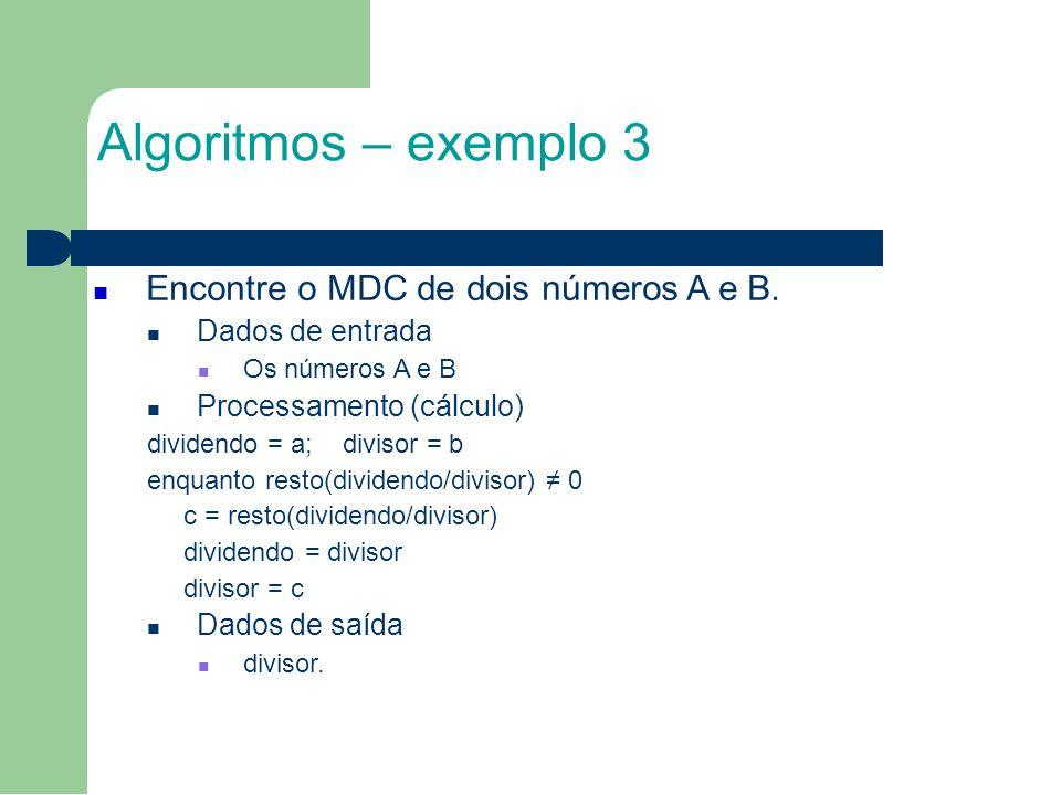 Algoritmos – exemplo 3 Encontre o MDC de dois números A e B.