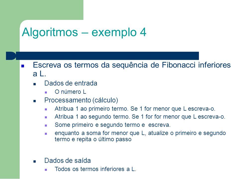 Algoritmos – exemplo 4 Escreva os termos da sequência de Fibonacci inferiores a L.