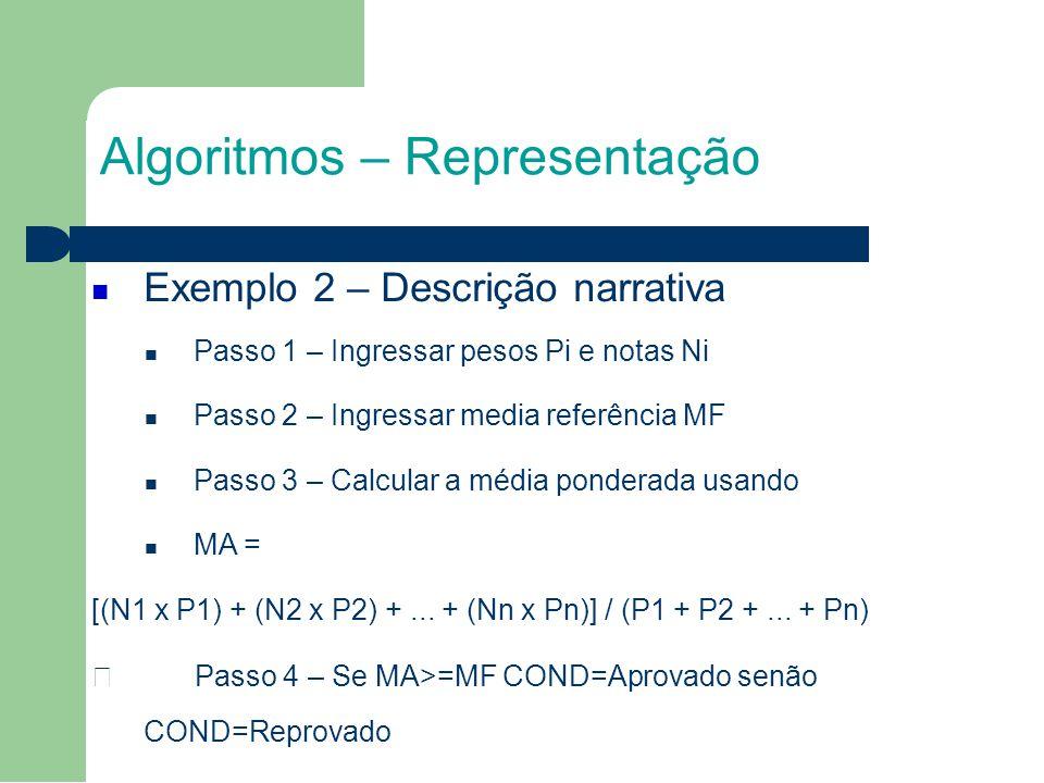 Algoritmos – Representação Exemplo 2 – Descrição narrativa Passo 1 – Ingressar pesos Pi e notas Ni Passo 2 – Ingressar media referência MF Passo 3 – Calcular a média ponderada usando MA = [(N1 x P1) + (N2 x P2) +...