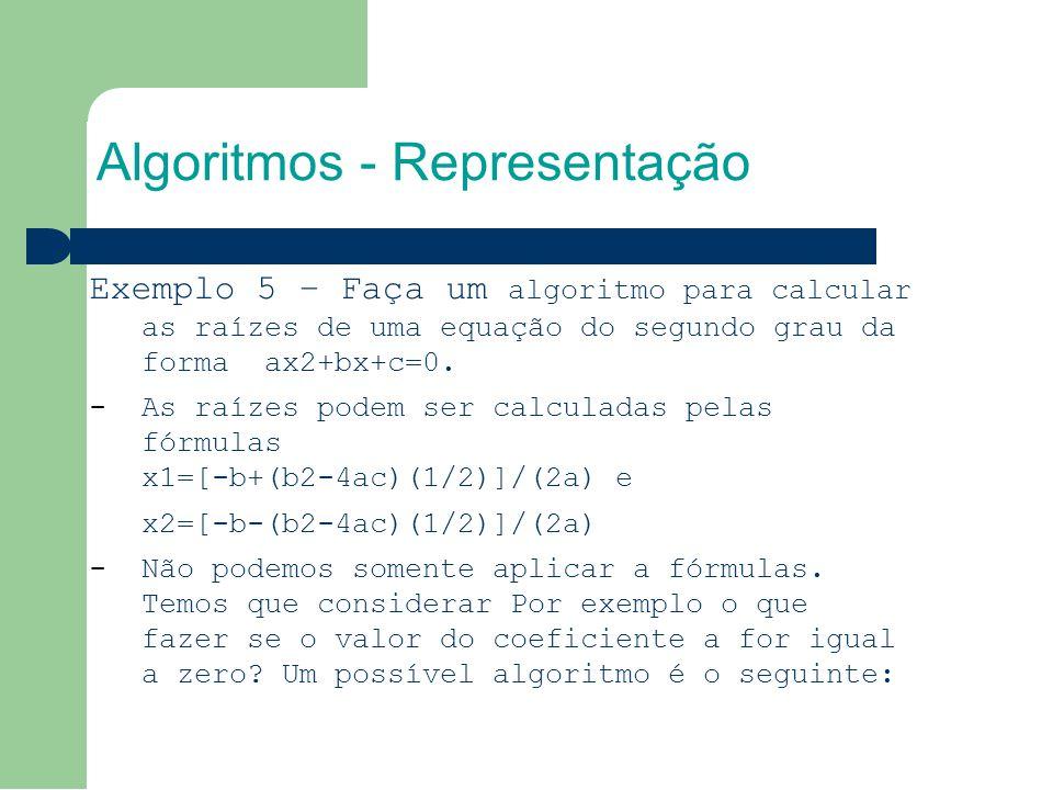 Algoritmos - Representação Exemplo 5 – Faça um algoritmo para calcular as raízes de uma equação do segundo grau da forma ax2+bx+c=0.