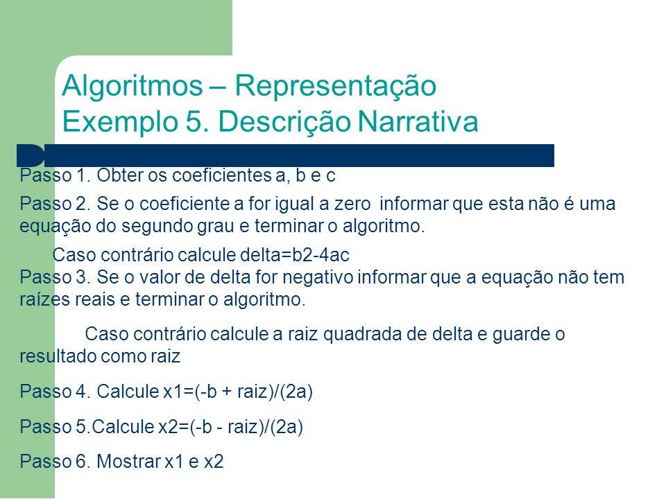 Algoritmos – Representação Exemplo 5. Descrição Narrativa Passo 1.