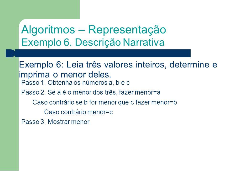 Exemplo 6: Leia três valores inteiros, determine e imprima o menor deles.