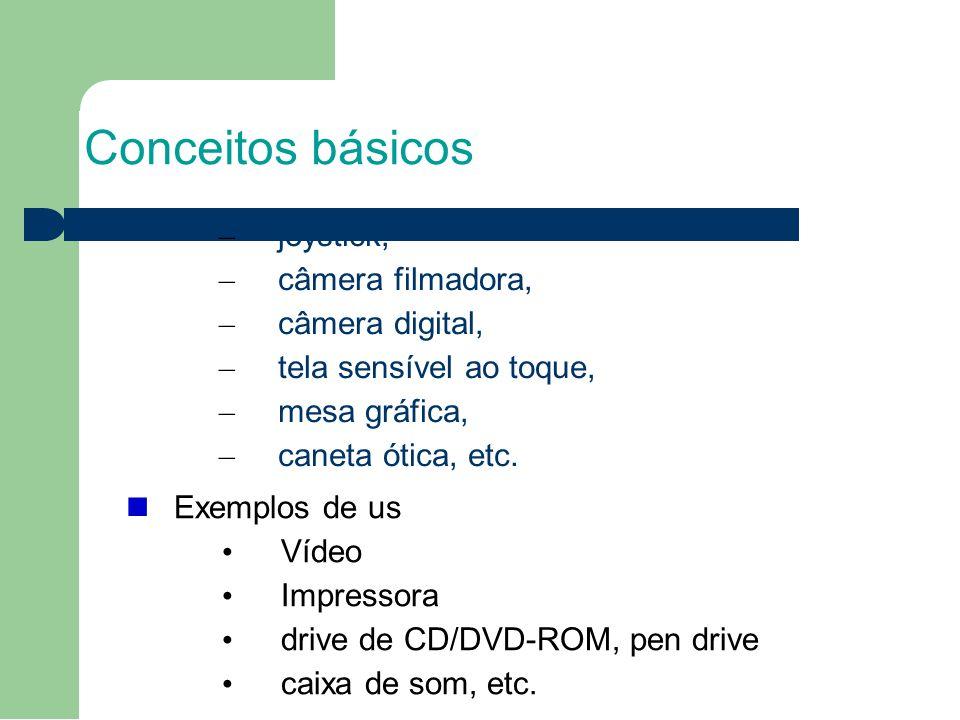 Conceitos básicos – joystick, – câmera filmadora, – câmera digital, – tela sensível ao toque, – mesa gráfica, – caneta ótica, etc.