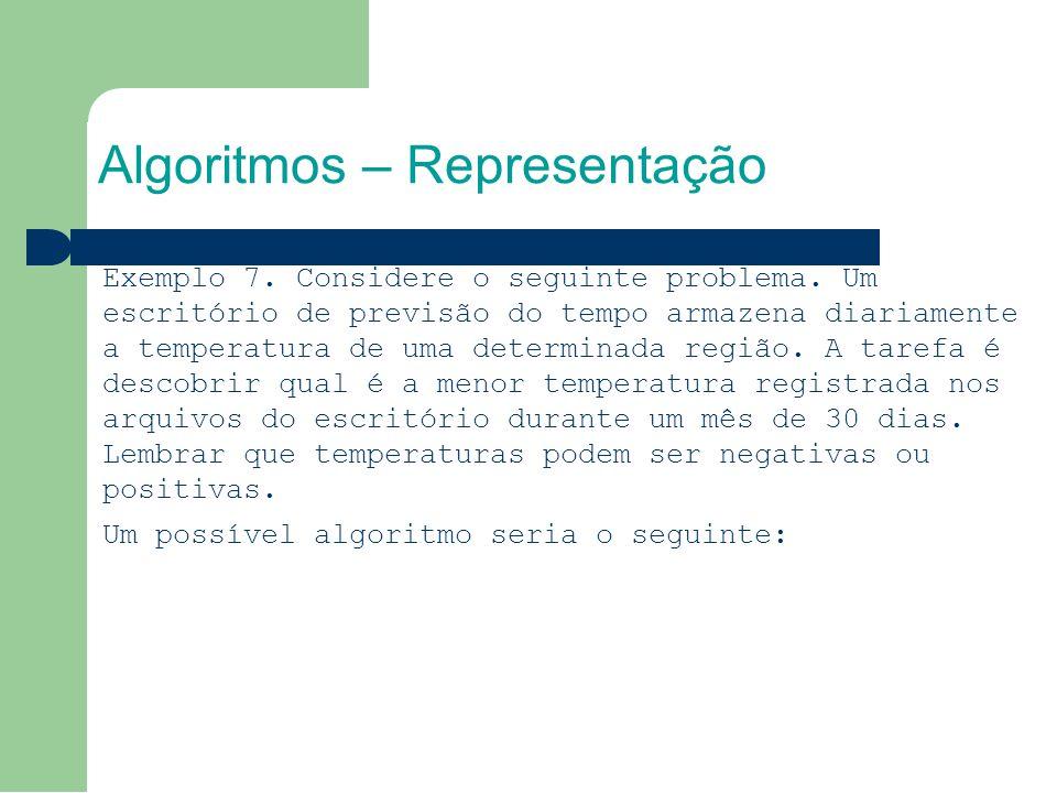 Algoritmos – Representação Exemplo 7. Considere o seguinte problema.