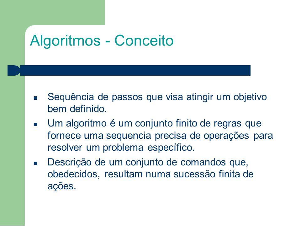Algoritmos - Conceito Sequência de passos que visa atingir um objetivo bem definido.