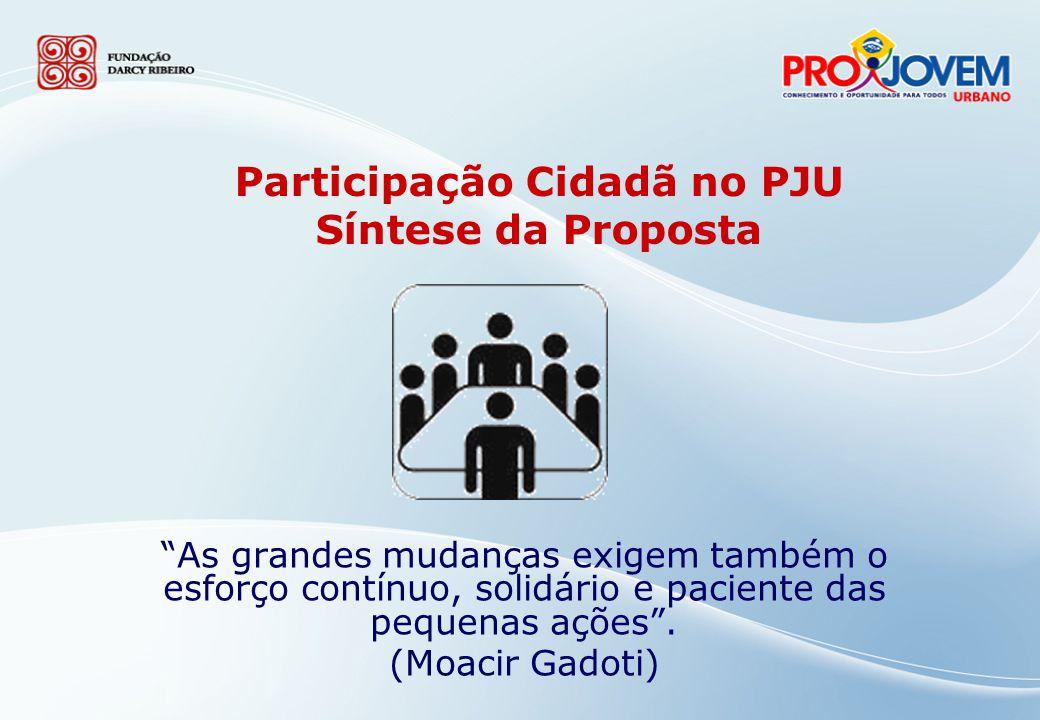 A Participação Cidadã no Projeto Pedagógico Integrado do PJU: Dimensão do Programa voltada à educação para a cidadania e à promoção da participação social dos jovens.