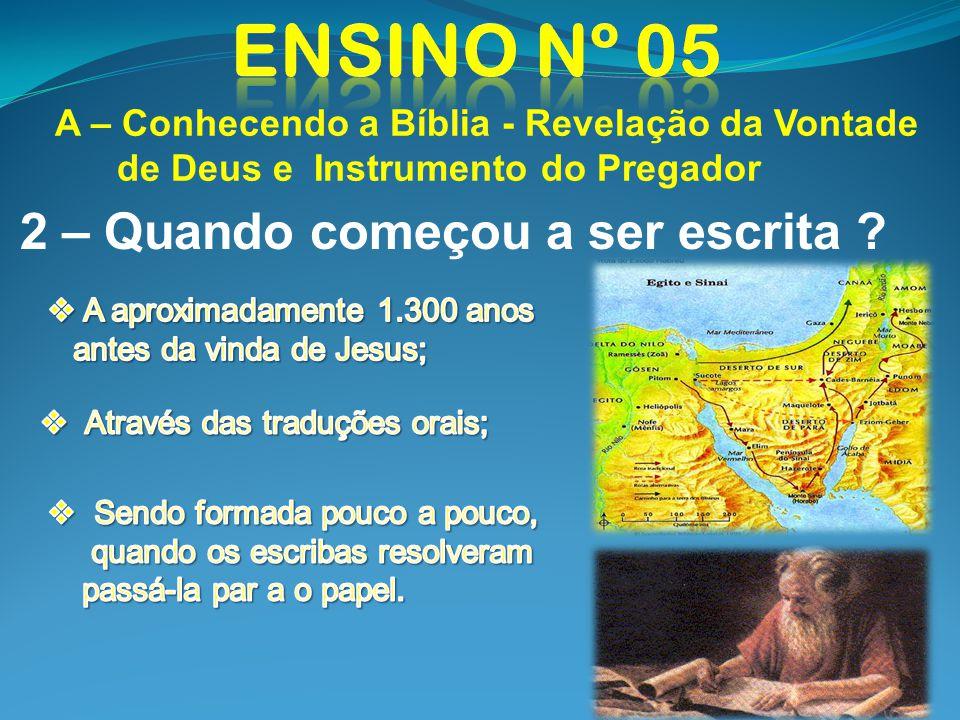 A – Conhecendo a Bíblia - Revelação da Vontade de Deus e Instrumento do Pregador 2 – Quando começou a ser escrita ?