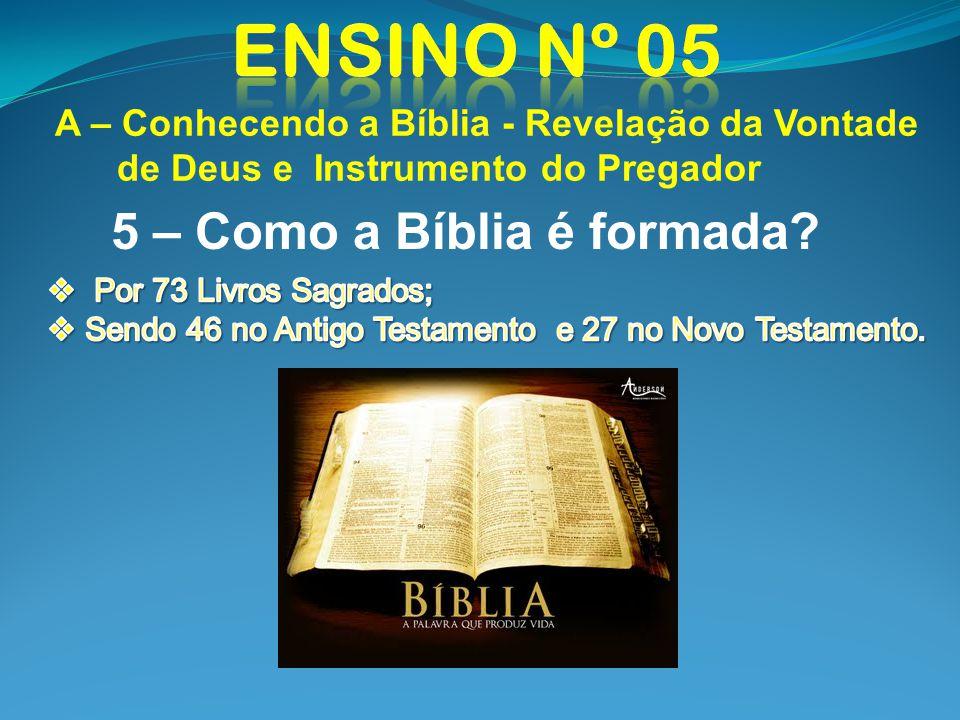 A – Conhecendo a Bíblia - Revelação da Vontade de Deus e Instrumento do Pregador 5 – Como a Bíblia é formada?