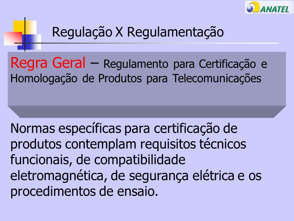 Regulação X Regulamentação Regra Geral – Regulamento para Certificação e Homologação de Produtos para Telecomunicações Normas específicas para certificação de produtos contemplam requisitos técnicos funcionais, de compatibilidade eletromagnética, de segurança elétrica e os procedimentos de ensaio.