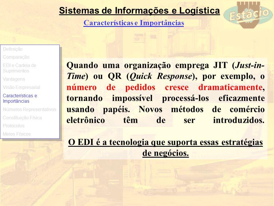 Sistemas de Informações e Logística Características e Importâncias Quando uma organização emprega JIT (Just-in- Time) ou QR (Quick Response), por exem