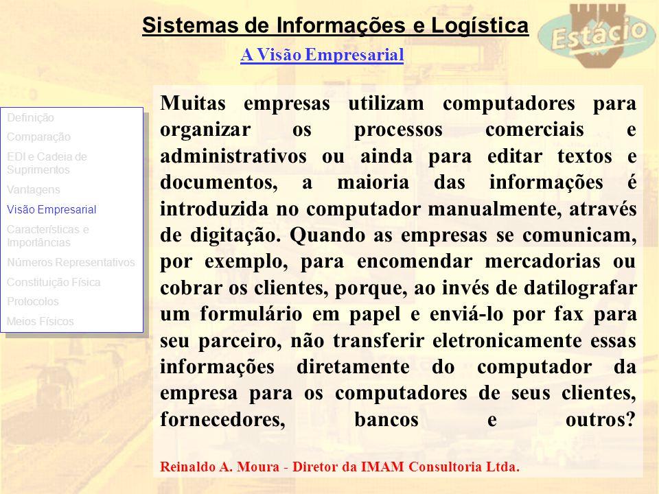 Sistemas de Informações e Logística A Visão Empresarial Muitas empresas utilizam computadores para organizar os processos comerciais e administrativos