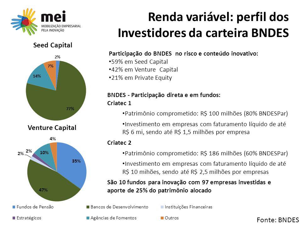 Renda variável: perfil dos Investidores da carteira BNDES Participação do BNDES no risco e conteúdo inovativo: 59% em Seed Capital 42% em Venture Capi