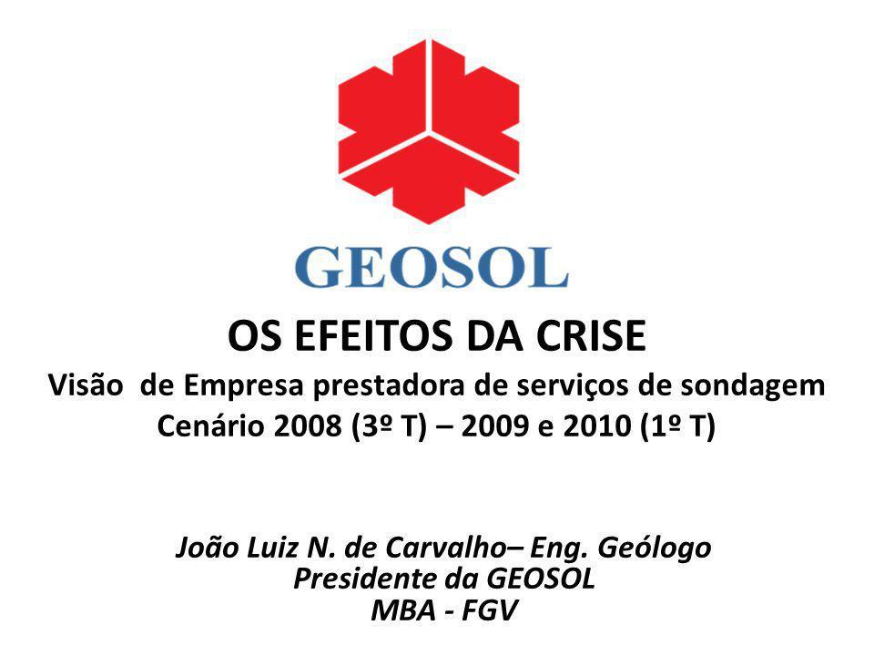 OS EFEITOS DA CRISE Visão de Empresa prestadora de serviços de sondagem Cenário 2008 (3º T) – 2009 e 2010 (1º T) João Luiz N. de Carvalho– Eng. Geólog