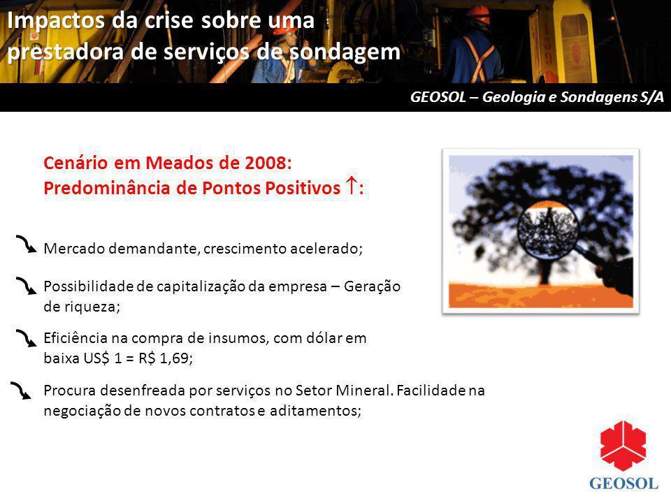 Cenário em Meados de 2008: Predominância de Pontos Positivos : Mercado demandante, crescimento acelerado; Possibilidade de capitalização da empresa –