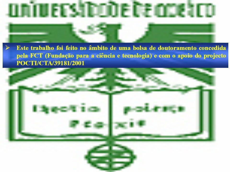 Este trabalho foi feito no âmbito de uma bolsa de doutoramento concedida pela FCT (Fundação para a ciência e tecnologia) e com o apoio do projecto POCTI/CTA/39181/2001 Este trabalho foi feito no âmbito de uma bolsa de doutoramento concedida pela FCT (Fundação para a ciência e tecnologia) e com o apoio do projecto POCTI/CTA/39181/2001