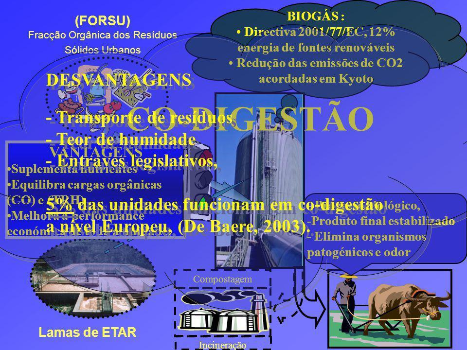 BIOGÁS : Directiva 2001/77/EC, 12% energia de fontes renováveis Redução das emissões de CO2 acordadas em Kyoto Lamas de ETAR (FORSU) Fracção Orgânica dos Resíduos Sólidos Urbanos VANTAGENS Suplementa nutrientes Equilibra cargas orgânicas (CO) e (TRH) Melhora a performance económica de toda a unidade.