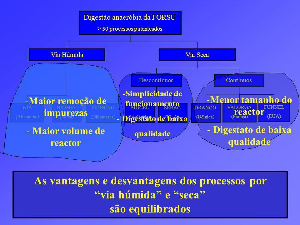 As vantagens e desvantagens dos processos por via húmida e seca são equilibrados Digestão anaeróbia da FORSU > 50 processos patenteados BTA (Alemanha) Descontínuos Via Húmida Via Seca HERNING (Dinamarca) BIOMET (Suiça) Contínuos BIOCEL (Holanda) SEBAC (EUA) VALORGA (França) DRANCO (Bélgica) FUNNEL (EUA) -Maior remoção de impurezas - Maior volume de reactor -Simplicidade de funcionamento - Digestato de baixa qualidade -Menor tamanho do reactor - Digestato de baixa qualidade