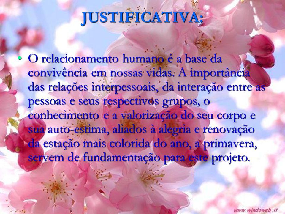 JUSTIFICATIVA: O relacionamento humano é a base da convivência em nossas vidas.