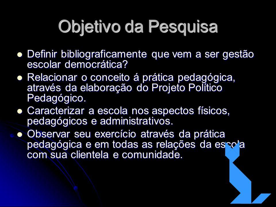 Objetivo da Pesquisa Definir bibliograficamente que vem a ser gestão escolar democrática? Definir bibliograficamente que vem a ser gestão escolar demo