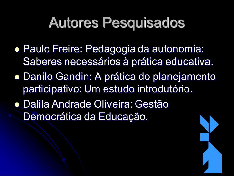 Autores Pesquisados Paulo Freire: Pedagogia da autonomia: Saberes necessários à prática educativa. Paulo Freire: Pedagogia da autonomia: Saberes neces