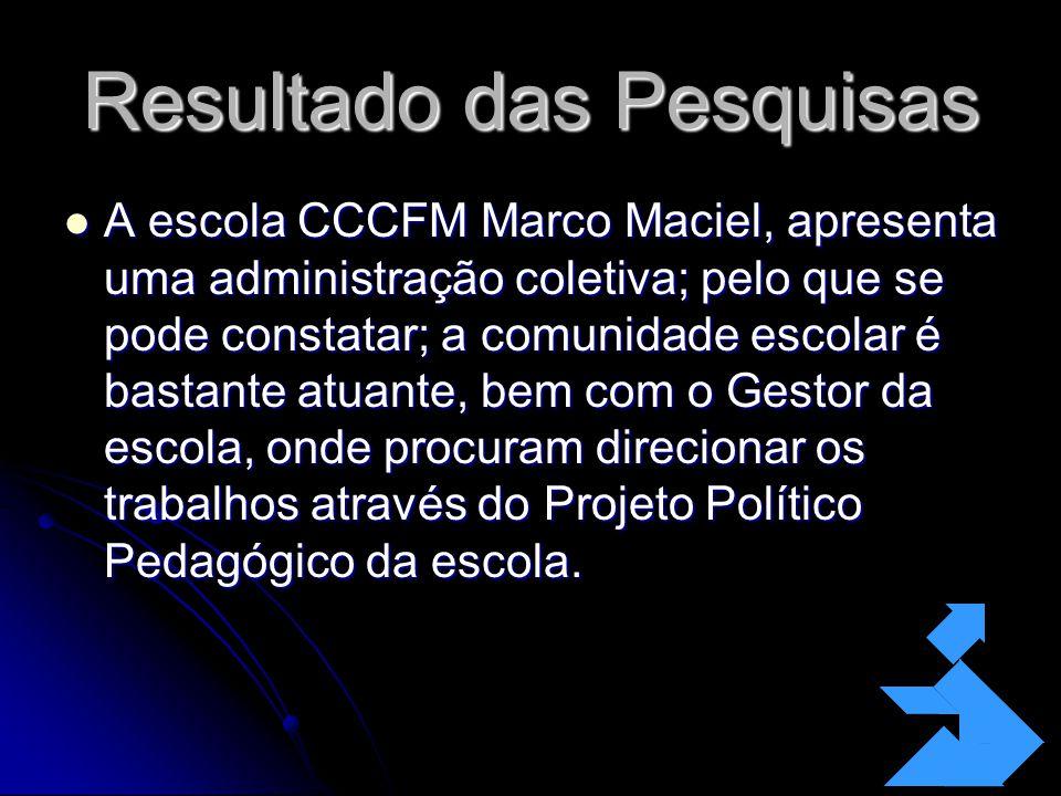 Resultado das Pesquisas A escola CCCFM Marco Maciel, apresenta uma administração coletiva; pelo que se pode constatar; a comunidade escolar é bastante