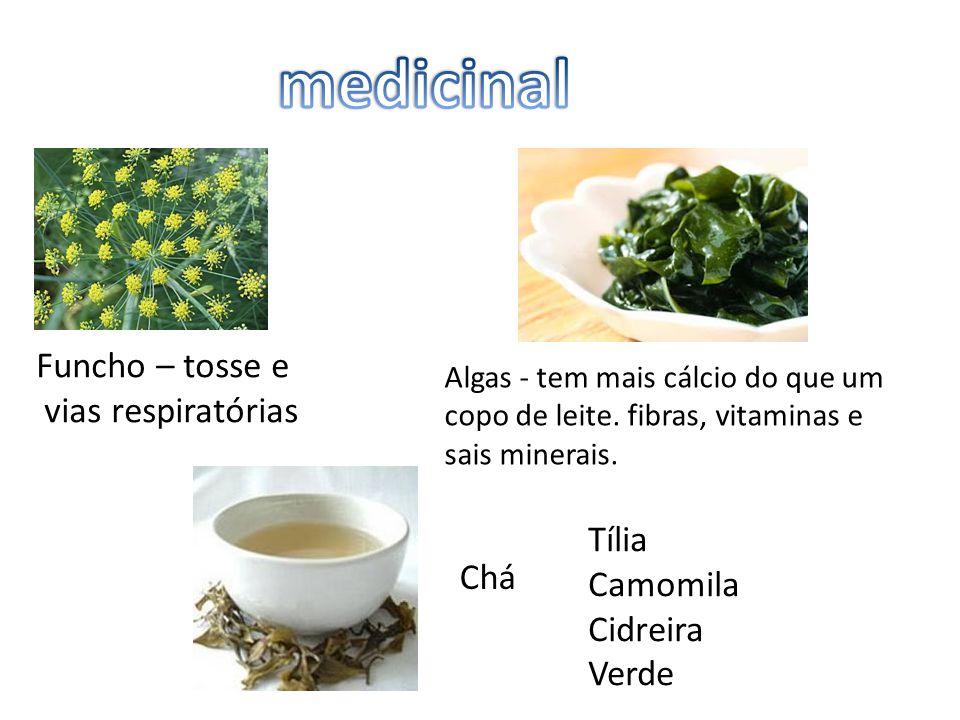 Funcho – tosse e vias respiratórias Algas - tem mais cálcio do que um copo de leite. fibras, vitaminas e sais minerais. Chá Tília Camomila Cidreira Ve