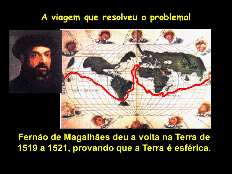 A viagem que resolveu o problema! Fernão de Magalhães deu a volta na Terra de 1519 a 1521, provando que a Terra é esférica. Profa. Lilian Larroca