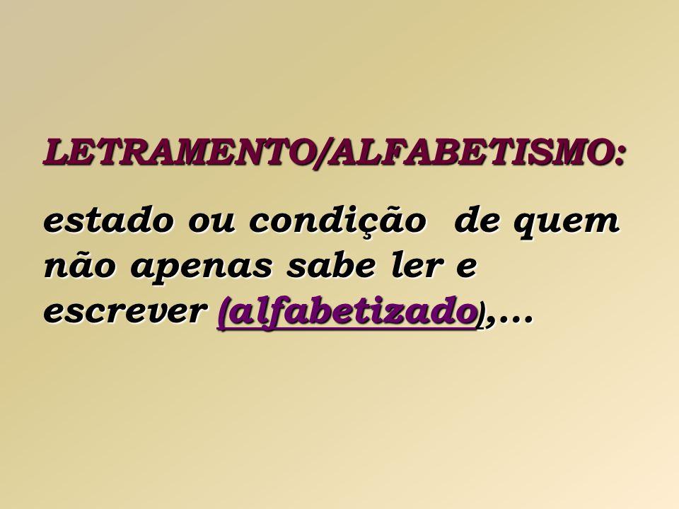 LETRAMENTO/ALFABETISMO: estado ou condição de quem não apenas sabe ler e escrever (alfabetizado ),…