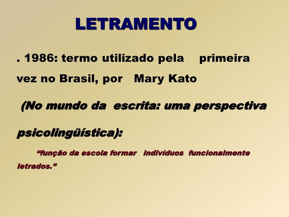1986: termo utilizado pela primeira vez no Brasil, por Mary Kato (No mundo da escrita: uma perspectiva psicolingüística): função da escola formar indivíduos funcionalmente letrados.