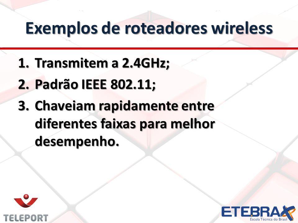 Exemplos de roteadores wireless 1.Transmitem a 2.4GHz; 2.Padrão IEEE 802.11; 3.Chaveiam rapidamente entre diferentes faixas para melhor desempenho.