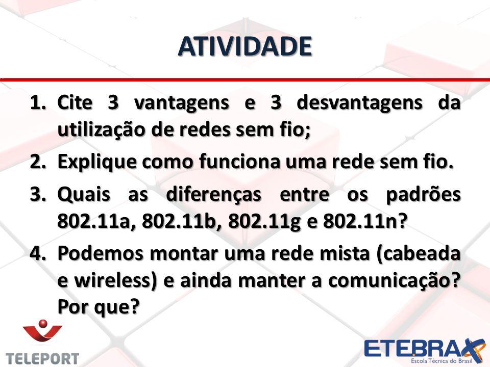 ATIVIDADE 1.Cite 3 vantagens e 3 desvantagens da utilização de redes sem fio; 2.Explique como funciona uma rede sem fio. 3.Quais as diferenças entre o