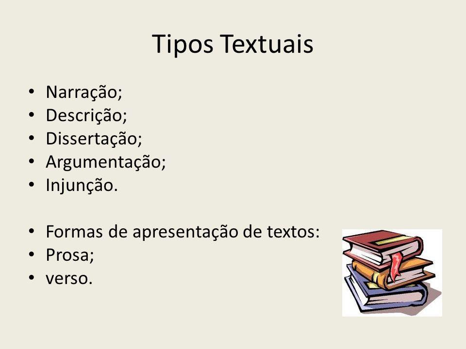 Tipos Textuais Narração; Descrição; Dissertação; Argumentação; Injunção.