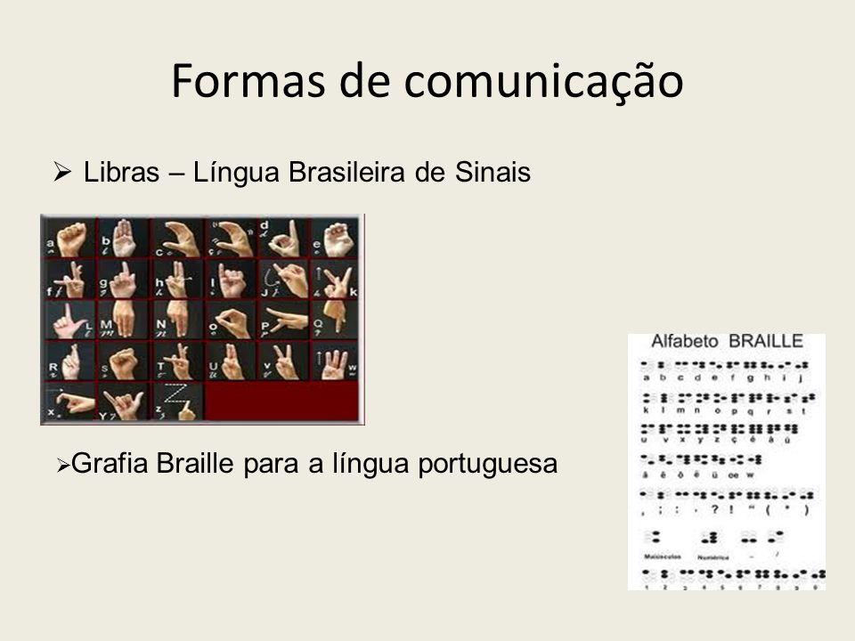 Formas de comunicação Libras – Língua Brasileira de Sinais Grafia Braille para a língua portuguesa