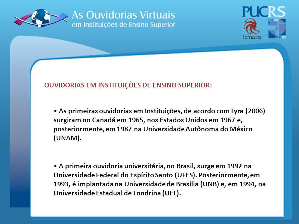 A primeira ouvidoria universitária, no Brasil, surge em 1992 na Universidade Federal do Espírito Santo (UFES). Posteriormente, em 1993, é implantada n