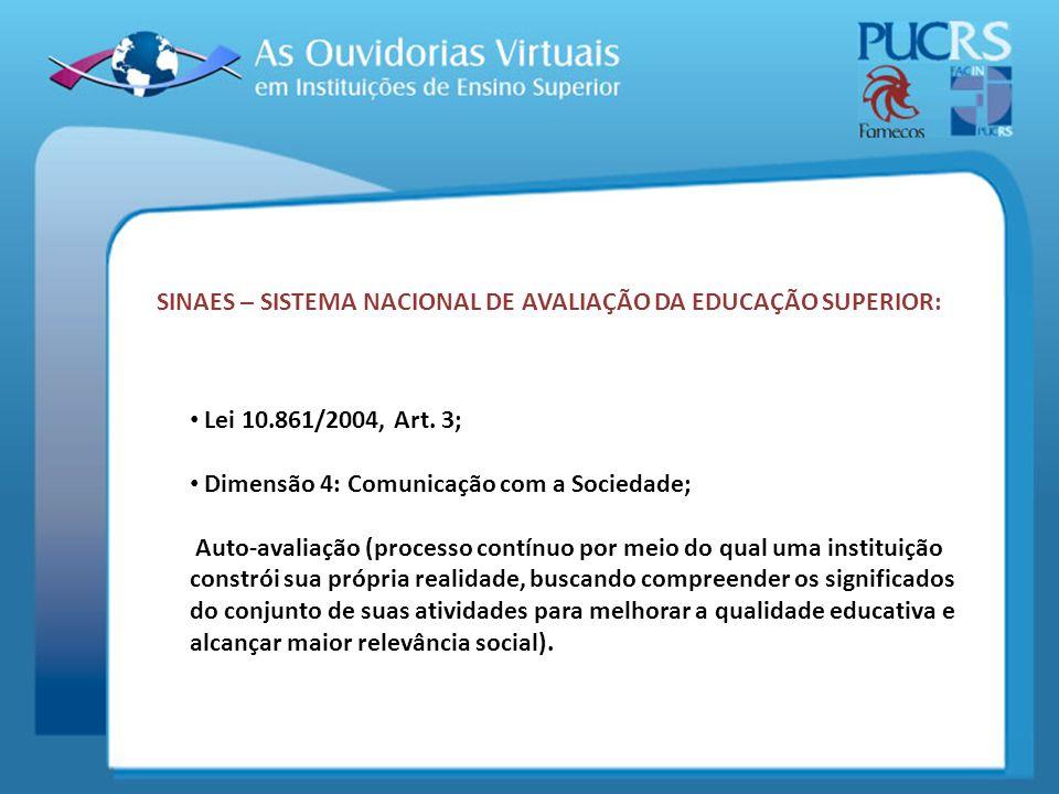 SINAES – SISTEMA NACIONAL DE AVALIAÇÃO DA EDUCAÇÃO SUPERIOR: Lei 10.861/2004, Art. 3; Dimensão 4: Comunicação com a Sociedade; Auto-avaliação (process