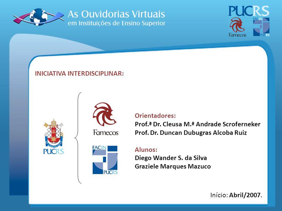 INICIATIVA INTERDISCIPLINAR: Orientadores: Prof.ª Dr. Cleusa M.ª Andrade Scroferneker Prof. Dr. Duncan Dubugras Alcoba Ruiz Alunos: Diego Wander S. da