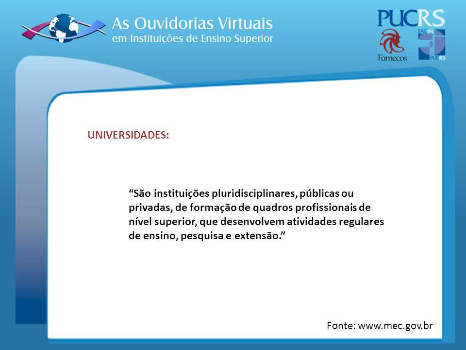 UNIVERSIDADES: São instituições pluridisciplinares, públicas ou privadas, de formação de quadros profissionais de nível superior, que desenvolvem ativ