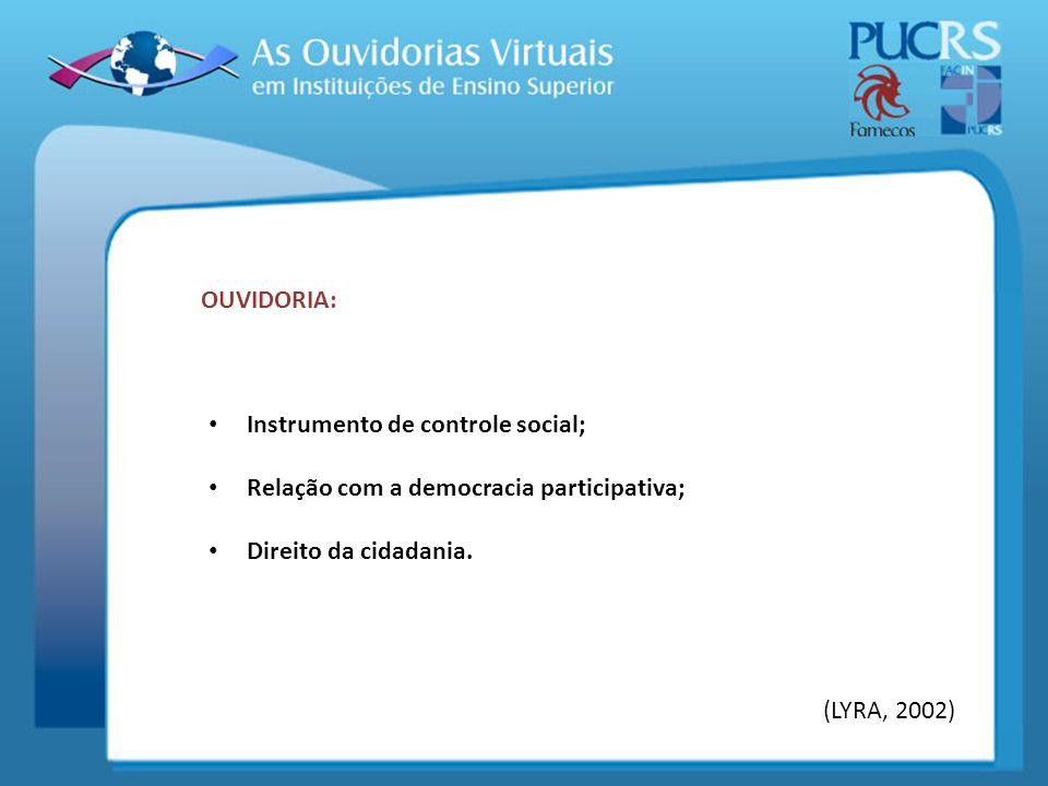 Instrumento de controle social; Relação com a democracia participativa; Direito da cidadania. OUVIDORIA: (LYRA, 2002)
