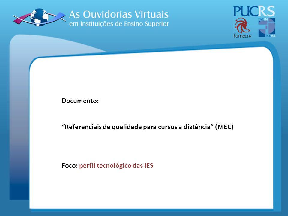 Documento: Referenciais de qualidade para cursos a distância (MEC) Foco: perfil tecnológico das IES