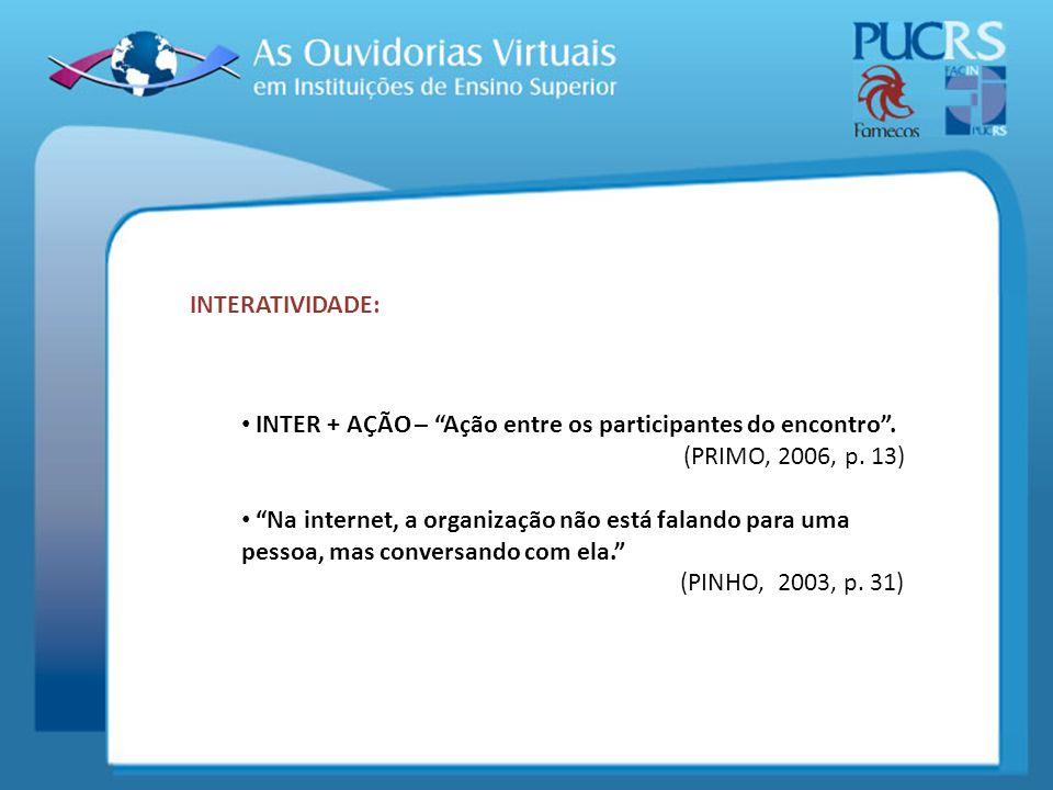 INTERATIVIDADE: INTER + AÇÃO – Ação entre os participantes do encontro. (PRIMO, 2006, p. 13) Na internet, a organização não está falando para uma pess