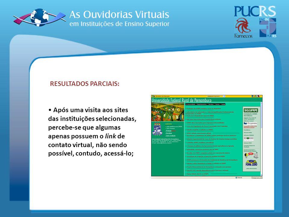 RESULTADOS PARCIAIS: Após uma visita aos sites das instituições selecionadas, percebe-se que algumas apenas possuem o link de contato virtual, não sen