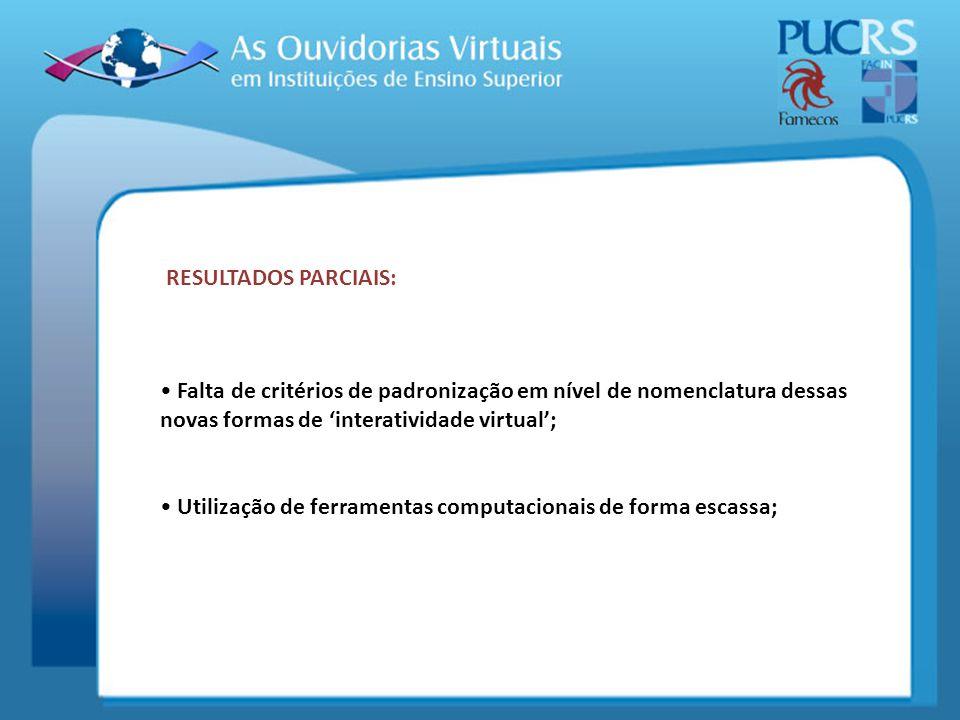 RESULTADOS PARCIAIS: Falta de critérios de padronização em nível de nomenclatura dessas novas formas de interatividade virtual; Utilização de ferramen