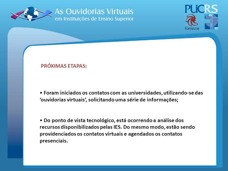 PRÓXIMAS ETAPAS: Foram iniciados os contatos com as universidades, utilizando-se das ouvidorias virtuais, solicitando uma série de informações; Do pon