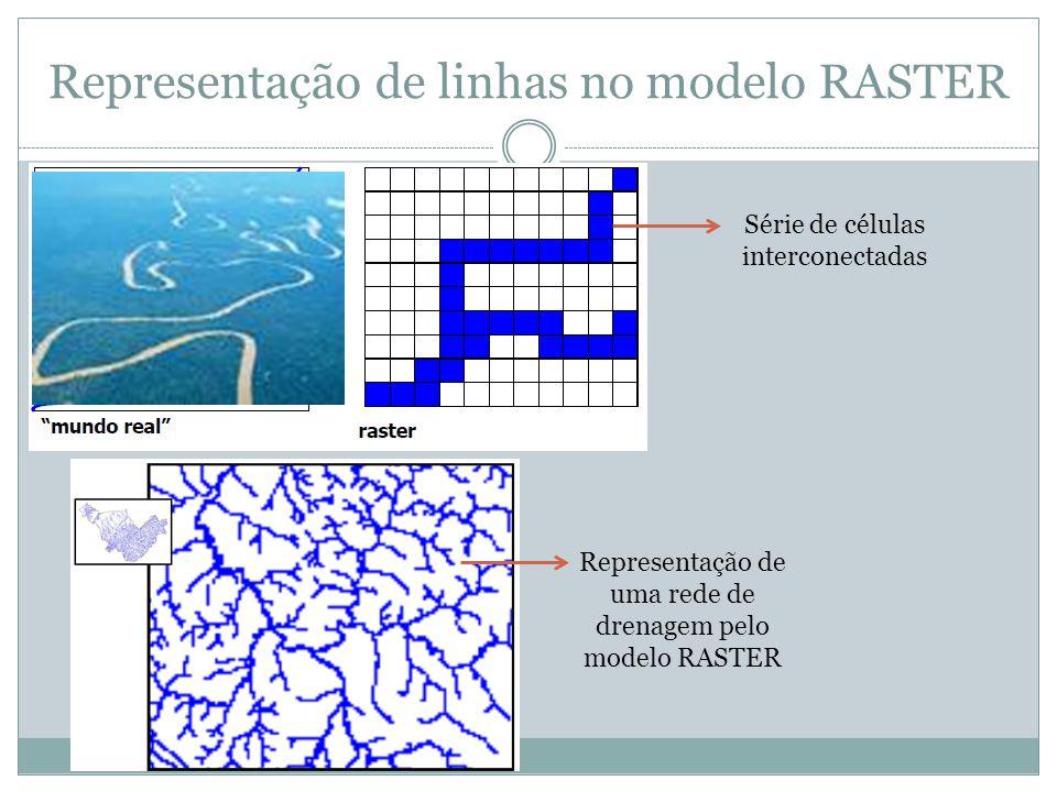 Representação de linhas no modelo RASTER Série de células interconectadas Representação de uma rede de drenagem pelo modelo RASTER