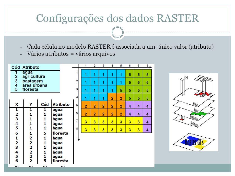 Configurações dos dados RASTER -Cada célula no modelo RASTER é associada a um único valor (atributo) -Vários atributos = vários arquivos